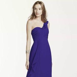 David's Bridal one shoulder blue dress size 10